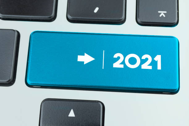 Close Up Laptop Key With 2021 Message stock photo
