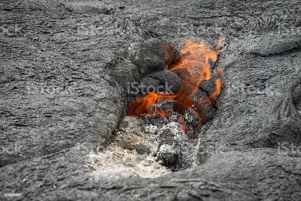 Close up lava flow in lava field stock photo