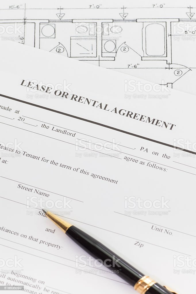 Close - up Lease or rental agreement form stock photo