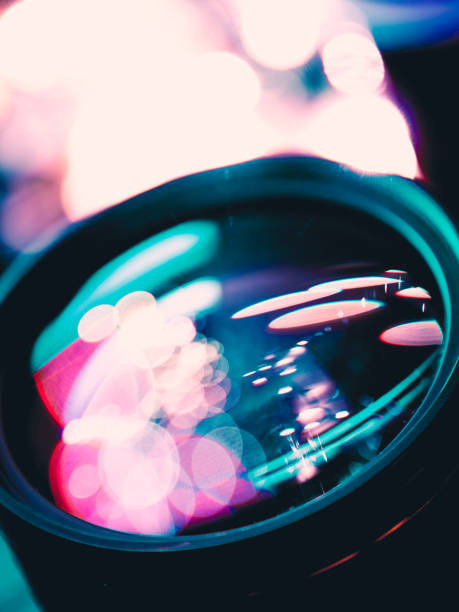 Close up lens with color bokeh stock photo