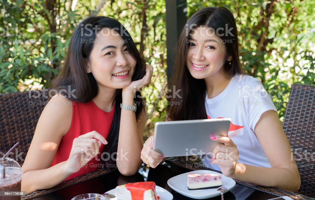 Close up lifestyle portrait Asian woman of best friends royalty-free stock photo