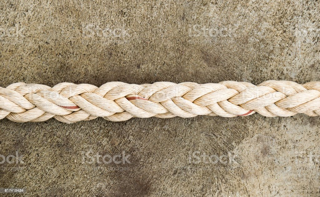 Close up line straight rope on floor stock photo