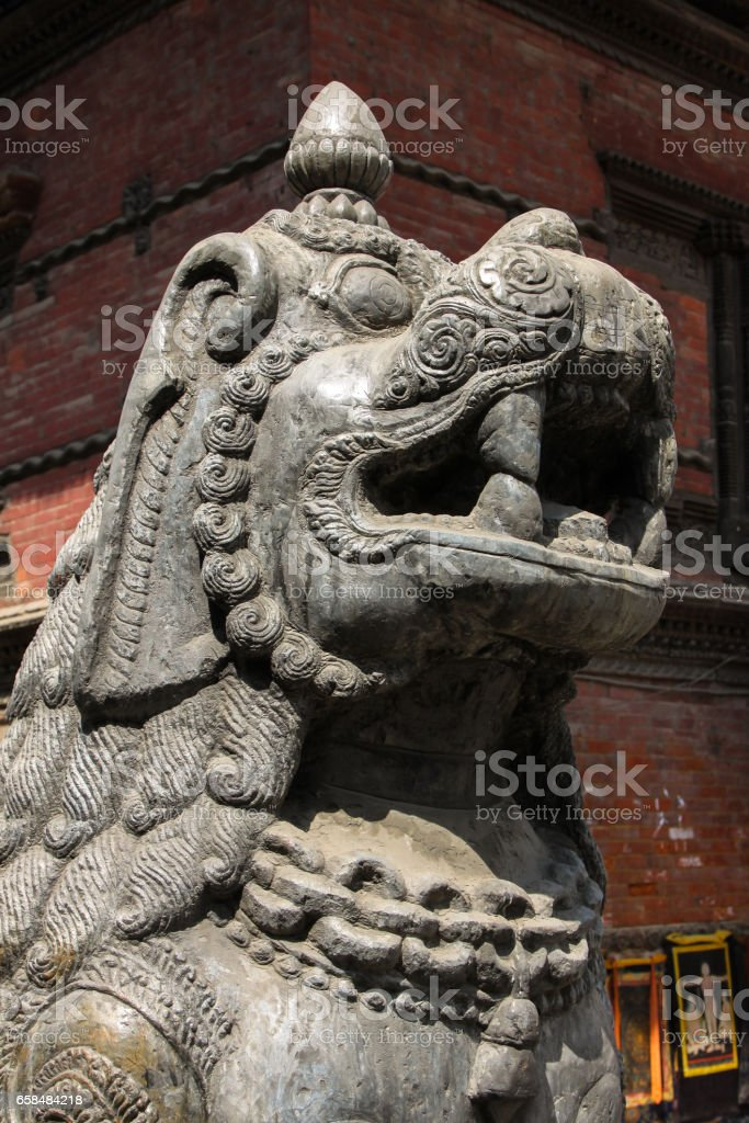 Close up Lion statue, Basantapur Durbar, Kathmandu Valley stock photo