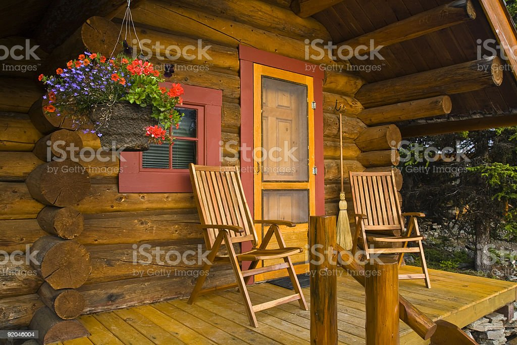 Close Up Log Cabin Canada stock photo