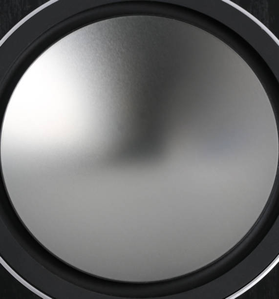Close up low frequency speakers stock photo
