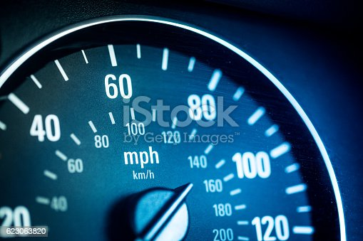 Extreme close up macro image of a car speedometer. The image has a heavy blue tint to it. Horizontal colour image with copy space.