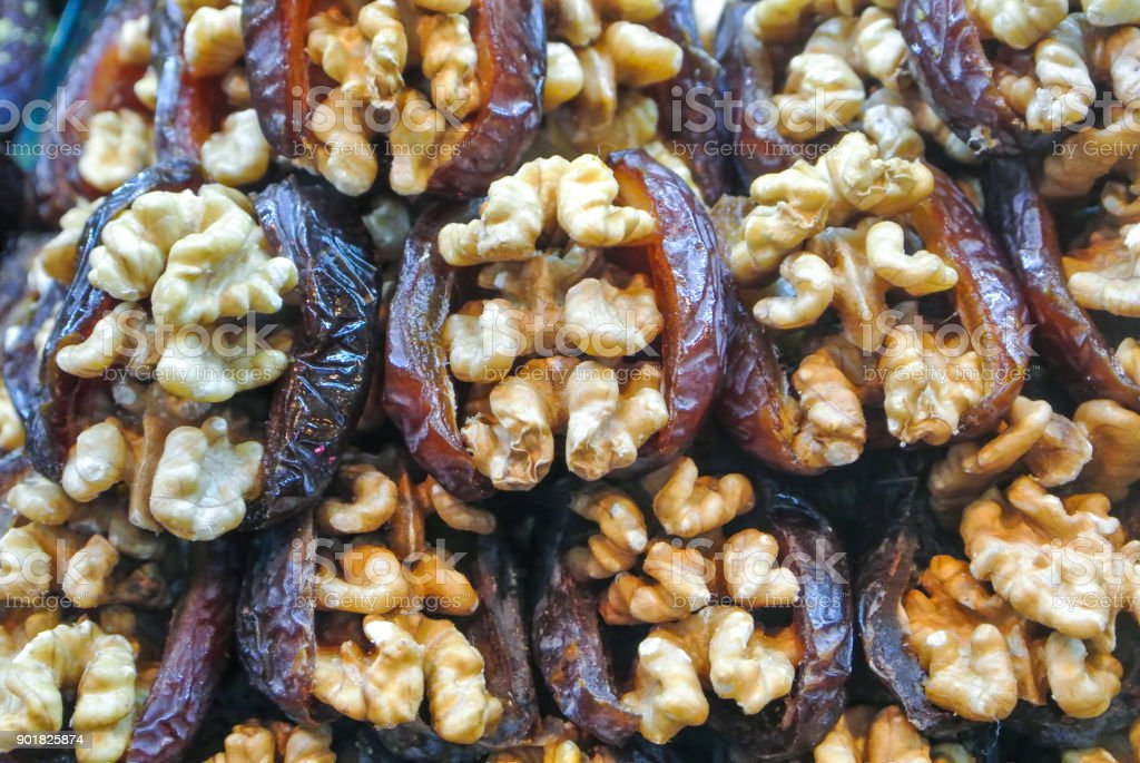 Close Up Macro Of Traditional Turkish Sweets Of Prune And Walnut For