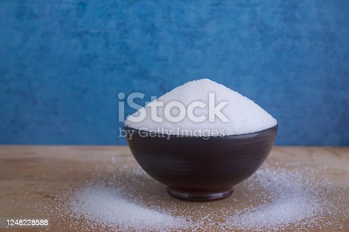 Close up Magnesium sulfate in bowl isolated on wooden background,fine Magnesium sulfate powder