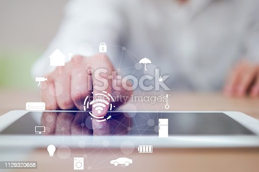 istock close up man hand press on display screen tablet turn on wifi technology for using home automation function to looking inside or outside home and property , ai innovation future concept 1129320658