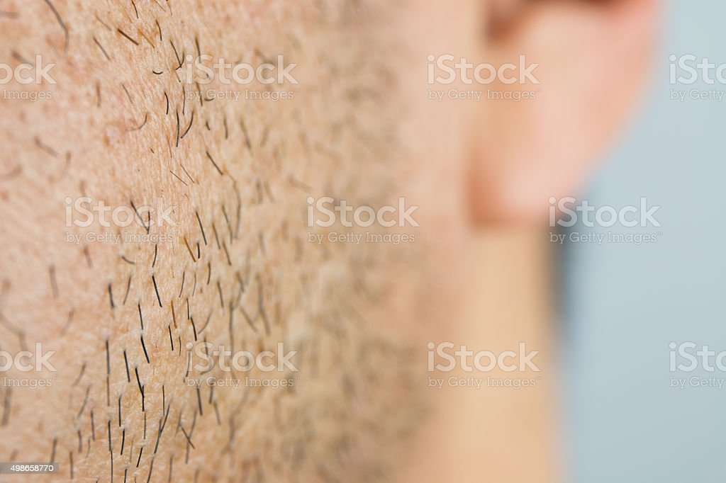 Close Up man short beard stock photo