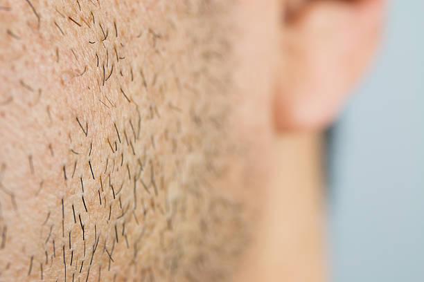 Close Up man short beard stock photo