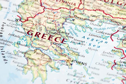 A macro photograph of Greece map