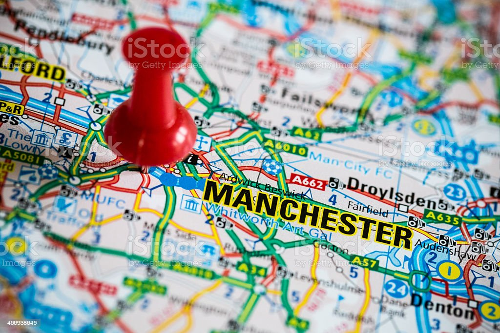 Close up Map of Manchester stock photo