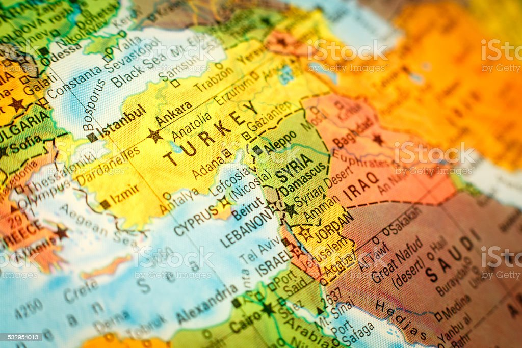close up map Syria, Jordan and Turkey stock photo