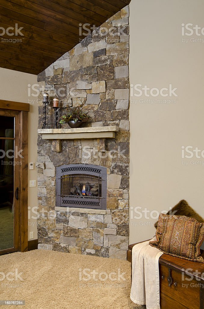 Close up master bedroom fireplace royalty-free stock photo