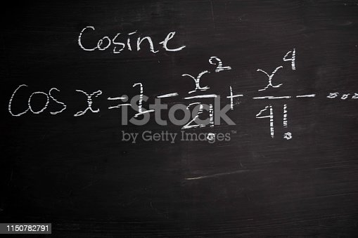 istock Close up math formulas written on a blackboard. Education concept 1150782791