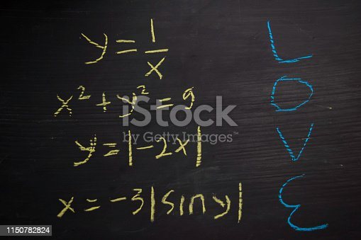 istock Close up math formulas written on a blackboard. Education concept 1150782824