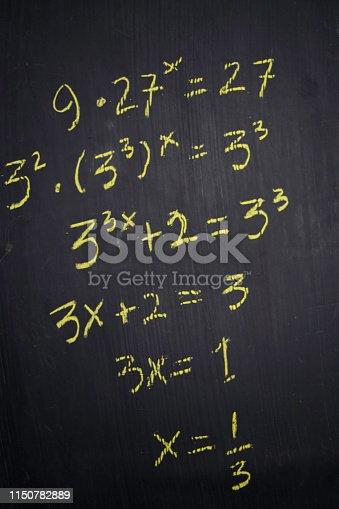 istock Close up math formulas written on a blackboard. Education concept 1150782889