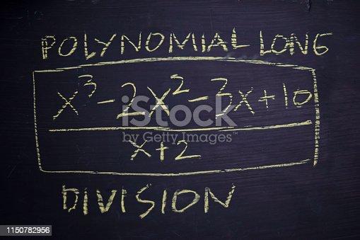 istock Close up math formulas written on a blackboard. Education concept 1150782956