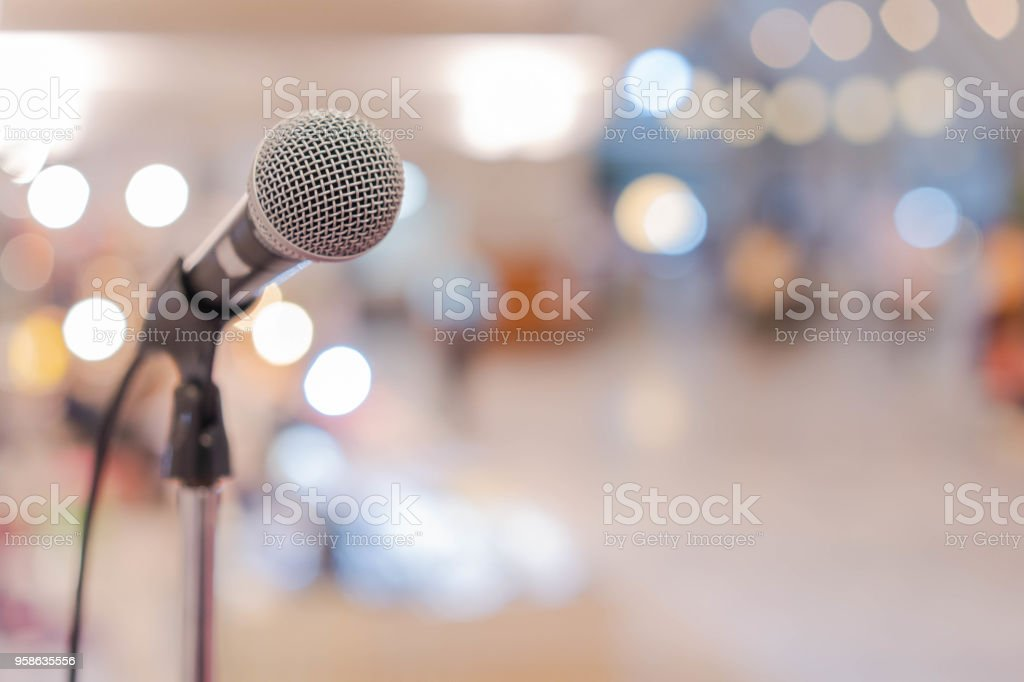Close up microphone in conference hall stock photo
