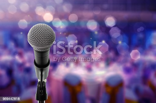 Close up microphone  on stage in Bdynamicall room.
