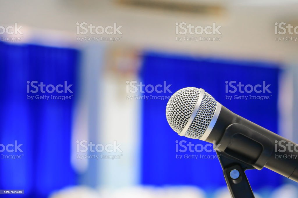 Close up microphone wireless old on Mic Stand in the conference and...