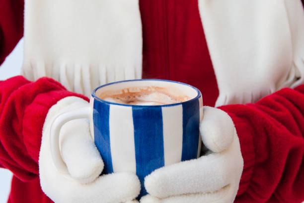 trikotshirt foto einer frau in warme handschuhe halten tasse heiße schokolade mit marshmallows im winter hautnah. - fleecepullover stock-fotos und bilder