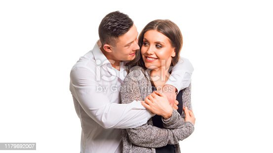 Close up millennial couple in love. Portrait of a couple planning a happy future. Holding couple in love. Isolated on white
