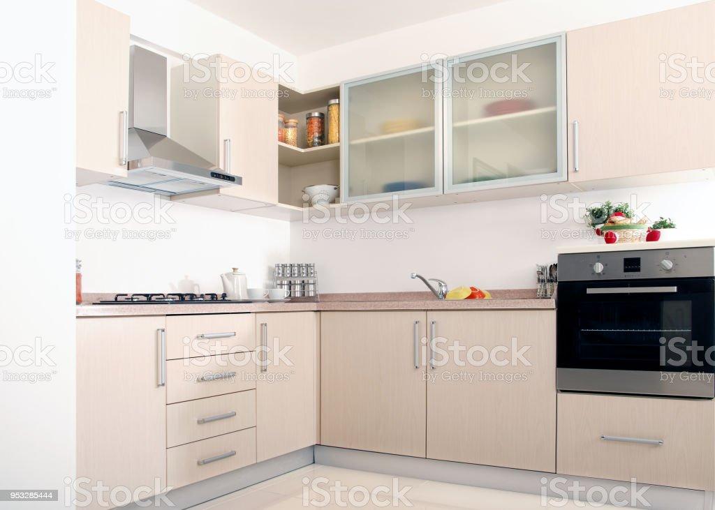 Cerrar Diseño Moderno Cocina Limpieza Doméstica Foto de stock y más banco  de imágenes de Acero