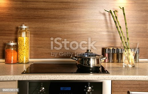 Close up indoor shot of modern domestic kitchen design