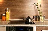 Close up indoor shot of modern domestic kitchen design