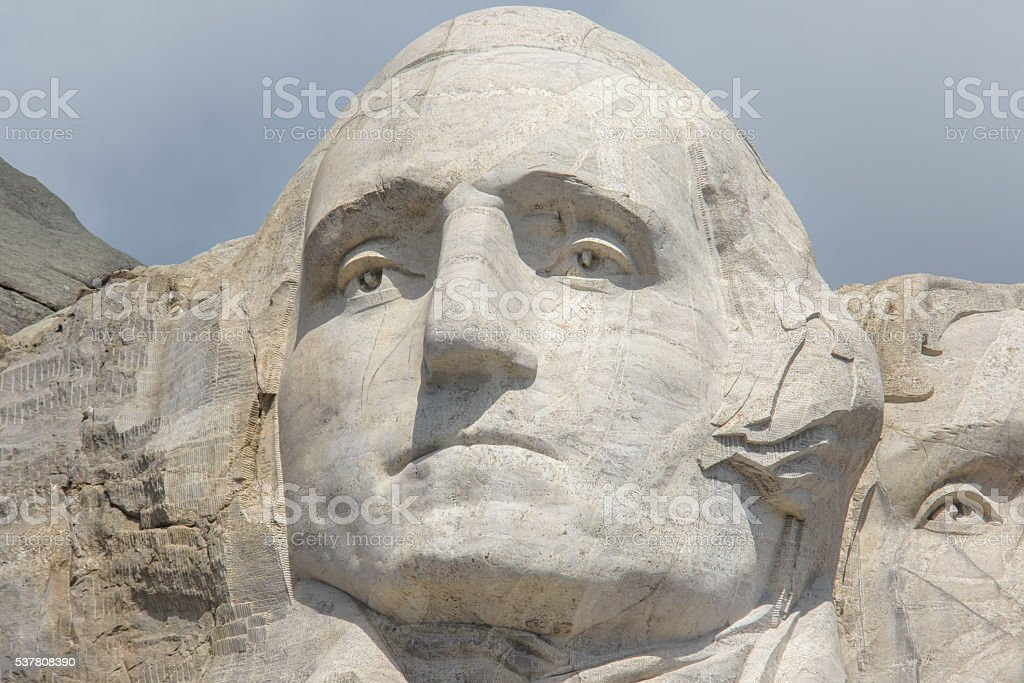 Close Up Mount Rushmore Washington's Face stock photo