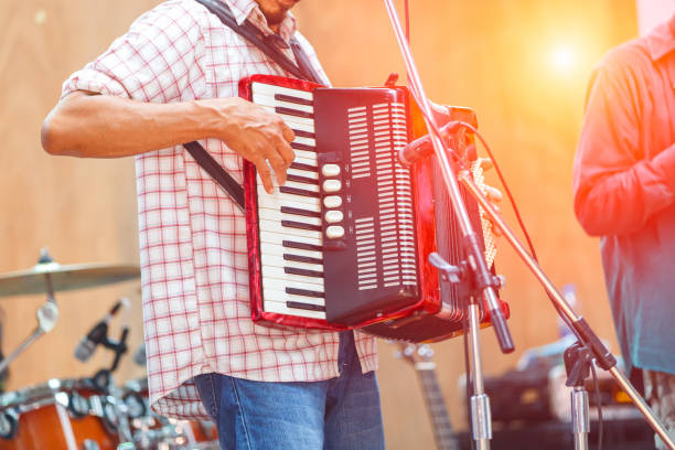 close up musicians are playing accordion on stage - accordion stock photos and pictures