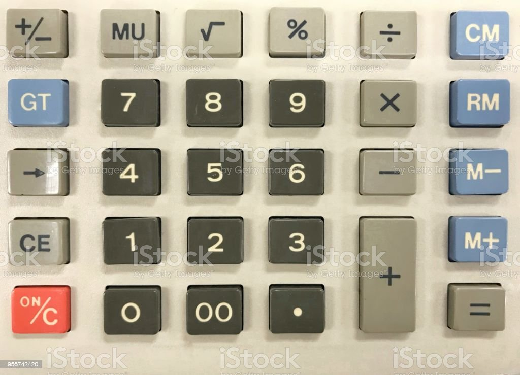close up numeric keypad of old fashioned of calculator stock photo