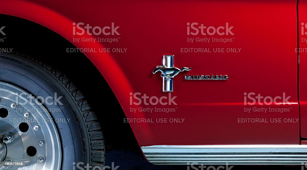 Close up of 1964 Ford mustang. stock photo
