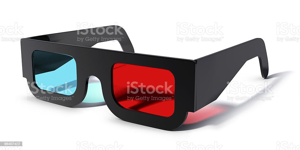 Close up of 3-d glasses against white background stock photo