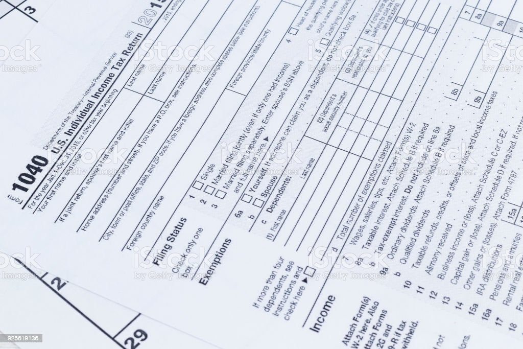 A Close Up Of A 1040 Tax Form Us Individual Income Tax Return Form