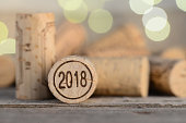 close up of a 2018 vintage new year wine cork with copyspace
