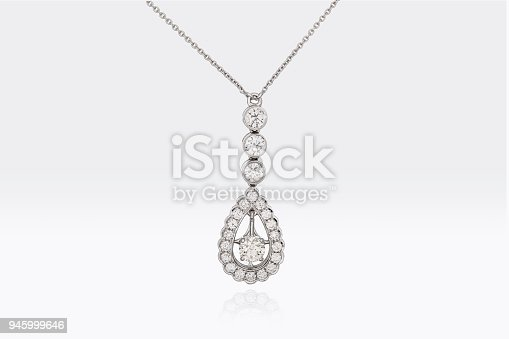 Close Up Of A Beautiful Round And Pear Shape Diamonds Pendant In White Platinum Gold Isolated On White Background