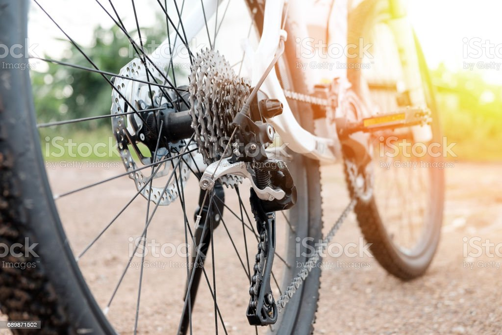 Close up of a Bicycle details, chain and gearshift mechanism stock photo