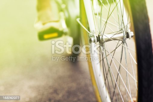 Close up of a bicycle drive wheel  - vintage effect