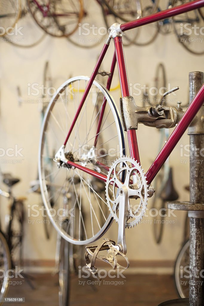 Close up of a bicycle frame stock photo