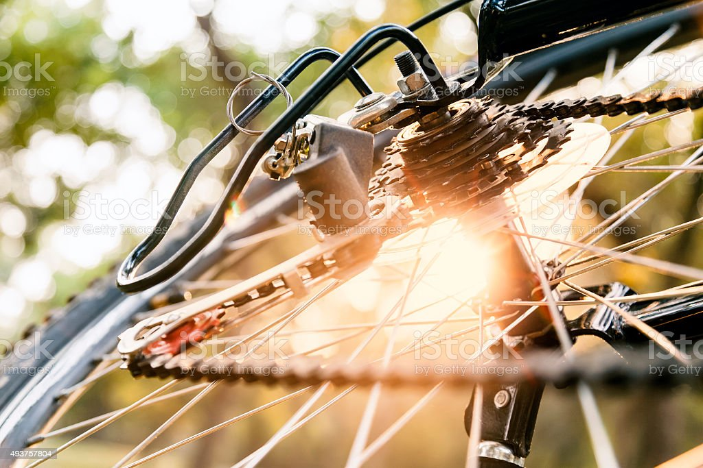 Close up of a Bicycle wheel with details. stock photo