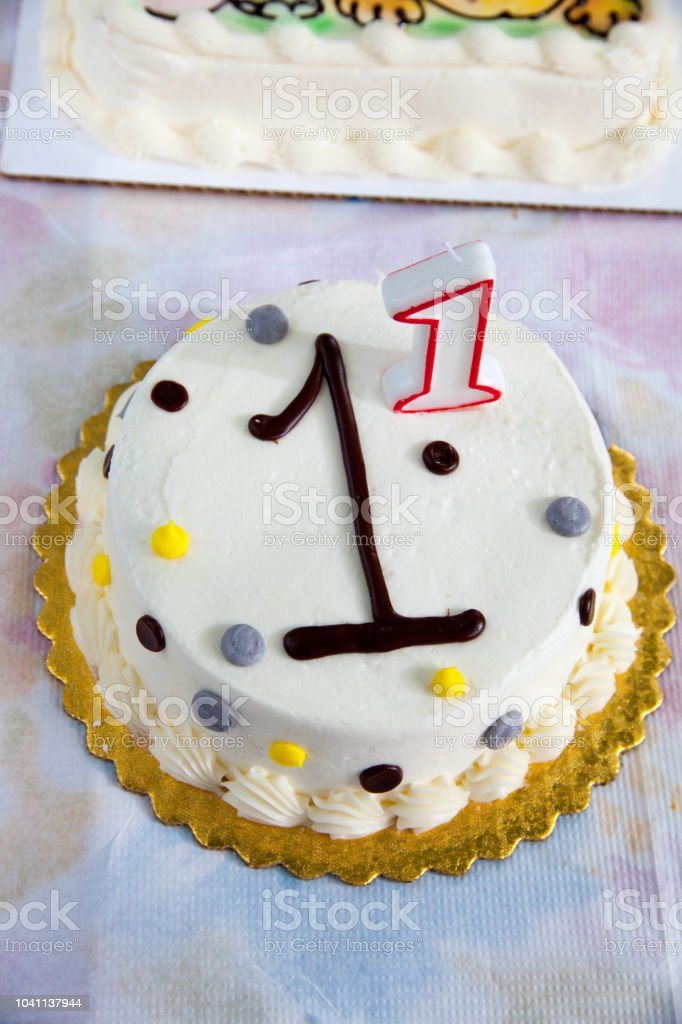 Awe Inspiring Close Up Of A Birthday Cake For One Year Old Stock Photo Funny Birthday Cards Online Elaedamsfinfo