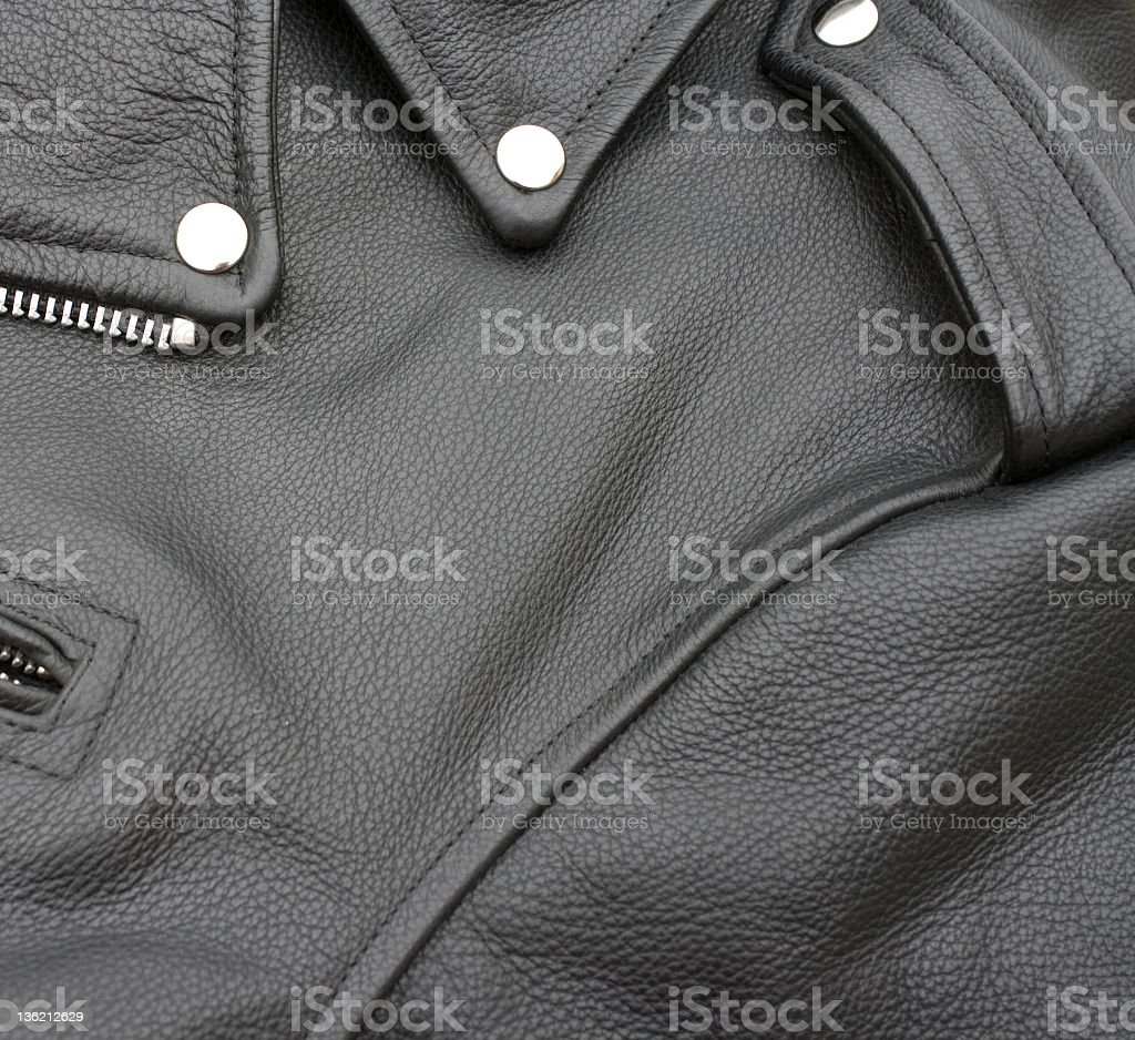 Close up of a black leather biker jacket stock photo