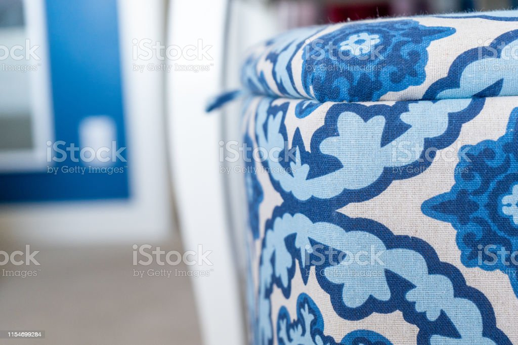 Close Up Of A Blue And White Fabric Laundry Basket In A Bedroom With Blue And White Interior Decor Selective Focus On The Laundry Hamper Stock Photo Download Image Now Istock