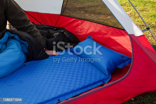 istock A close up of a blue camping inflating mattress pad 1285371044