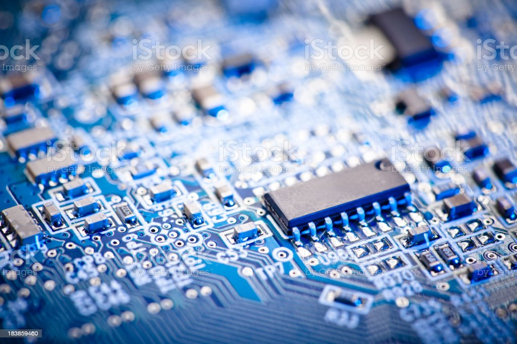 Close up of a blue computer circuit board royalty-free stock photo
