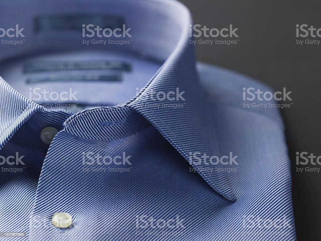 Close up of a blue mens shirts royalty-free stock photo