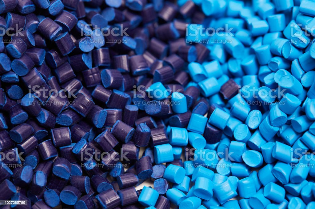 Close up of a blue plastic granules stock photo